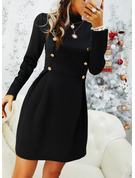 Solid A-line High Neck Long Sleeves Midi Casual Little Black Skater Dresses