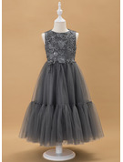 A-Line Ankle-length Flower Girl Dress - Tulle/Lace Sleeveless Scoop Neck With Beading