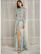Round Neck Long Sleeves Maxi Dresses