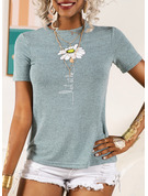Short Sleeves Cotton Round Neck T-shirt Blouses