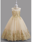 Ball-Gown/Princess Floor-length Flower Girl Dress - Tulle Sleeveless Scoop Neck With Beading