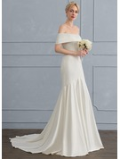Sheath/Column Off-the-Shoulder Sweep Train Satin Wedding Dress
