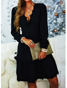 Lace Solid A-line V-Neck Long Sleeves Midi Elegant Little Black Skater Dresses