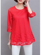 Plain 1/2 Sleeves Lace Round Neck Casual Blouses Blouses