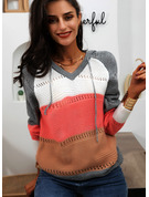 Hooded Long Sleeves Color Block Casual Pullovers