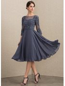 Scoop Neck Knee-Length Chiffon Lace Mother of the Bride Dress With Beading Sequins