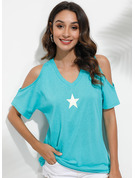 Short Sleeves Polyester Tulle Cold Shoulder T-shirt Blouses