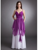 A-Line/Princess Sweetheart Floor-Length Chiffon Holiday Dress With Cascading Ruffles