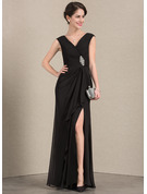 A-Line/Princess V-neck Floor-Length Chiffon Evening Dress With Beading Split Front Cascading Ruffles