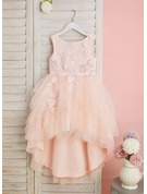 Ball-Gown/Princess Asymmetrical Flower Girl Dress - Tulle Sleeveless Scoop Neck With Lace/Flower(s)/V Back