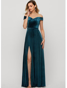 Off-the-Shoulder Floor-Length Velvet Evening Dress With Sequins Split Front