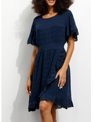 Cotton With Lace/Ruffles/Solid Knee Length Dress