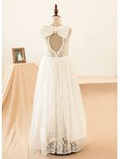 Floor-length Flower Girl Dress - Lace Sleeveless Scoop Neck With Lace Bow(s) Back Hole