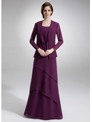 A-Line Scoop Neck Floor-Length Chiffon Mother of the Bride Dress With Beading Cascading Ruffles