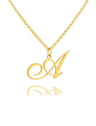 Christmas Gifts For Her - Custom 18k Gold Plated Silver Vintage Initial Necklace