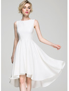 A-Line Scoop Neck Asymmetrical Stretch Crepe Wedding Dress