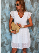 Solid Shift V-Neck Cap Sleeve Midi Casual Vacation Tunic Dresses