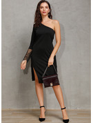 Chinlon With Lace/Solid/Slit Knee Length Dress