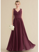 A-Line/Princess V-neck Floor-Length Chiffon Lace Prom Dresses With Ruffle Bow(s)