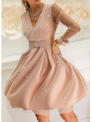 Print Sequins A-line V-Neck Long Sleeves Midi Elegant Party Skater Dresses