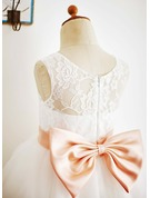 Ball-Gown/Princess Knee-length Flower Girl Dress - Tulle/Lace Sleeveless Bateau With Sash/Bow(s)