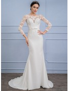 Trumpet/Mermaid Scoop Neck Sweep Train Chiffon Wedding Dress With Bow(s)