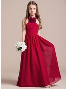 Halter Floor-Length Chiffon Junior Bridesmaid Dress With Ruffle Flower(s)