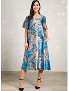 Polyester/Linen With Print Midi Dress