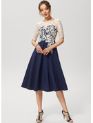 A-Line Scoop Neck Knee-Length Lace Stretch Crepe Cocktail Dress With Sequins