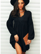Lace Solid Shift V-Neck Long Sleeves Midi Casual Little Black Tunic Dresses