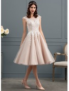 A-Line/Princess Scoop Neck Knee-Length Tulle Wedding Dress With Sequins