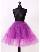 Women Tulle Netting/Satin Knee-length 2 Tiers Bustle