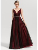 A-Line V-neck Floor-Length Tulle Prom Dresses With Beading