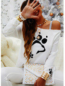 Regular Cotton Blends One Shoulder Animal Print Sequins Fitted Blouses