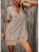 Floral Print Shift V-Neck Short Sleeves Midi Boho Casual Vacation Tunic Dresses