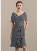 A-Line/Princess Off-the-Shoulder Knee-Length Chiffon Cocktail Dress With Appliques Lace Cascading Ruffles