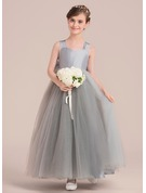Ball Gown Floor-length Flower Girl Dress - Taffeta/Tulle Sleeveless Sweetheart With Bow(s)