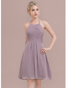 A-Line Scoop Neck Knee-Length Chiffon Homecoming Dress With Ruffle