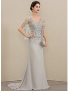 Trumpet/Mermaid V-neck Sweep Train Chiffon Lace Mother of the Bride Dress With Beading Sequins