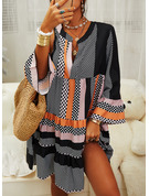 PolkaDot Striped Shift V-Neck Long Sleeves Midi Casual Tunic Dresses