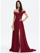 Off-the-Shoulder Sweep Train Chiffon Prom Dresses With Lace Sequins