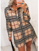 Plaid Shift Shirt collar Long Sleeves Midi Casual Shirt Dresses