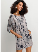 3/4 Sleeves Polyester Round Neck Blouses