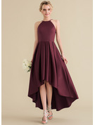 A-Line/Princess Scoop Neck Asymmetrical Satin Prom Dresses With Ruffle