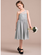 One-Shoulder Knee-Length Chiffon Lace Junior Bridesmaid Dress
