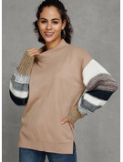 Color Block Chunky knit Polyester Round Neck Pullovers Sweaters