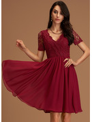 A-Line V-neck Knee-Length Chiffon Homecoming Dress With Lace