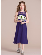 A-Line Scoop Neck Tea-Length Chiffon Junior Bridesmaid Dress