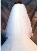 Four-tier Cut Edge Fingertip Bridal Veils
