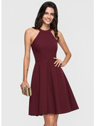 A-Line Scoop Neck Knee-Length Stretch Crepe Homecoming Dress With Ruffle